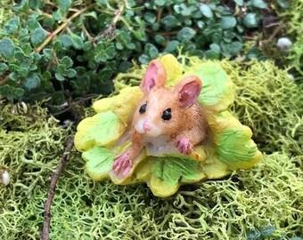 SALE Miniature Mouse Figurine, Mini Mouse Under Leaves, Fairy Garden Accessory, Home & Garden Decor, Shelf Sitter, Topper, Gift