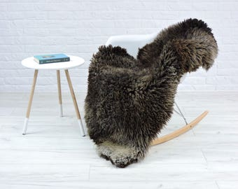Gotland Sheepskin | Natural Curly Fur Soft Rug | Brown & Grey | Large Rare Breed | Decorative for floor chair sofa | 135cm x 80cm #171