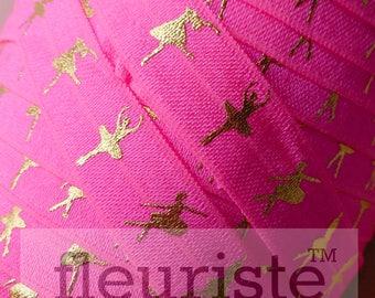 Fold Over Elastic, FOE, Foldover Elastic, Elastic By The Yard, 5/8 Elastic, Elastic, Elastic, Printed Elastic, Ballerina on Neon Pink