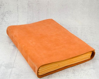Orange leather journal, writing journal sketchbook, unique notebook A5 travel journal