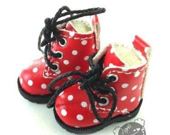 Polka dot shoes forPpinkydolls/ Blythe/ Pullip/ Lalaloopsy/ Hujoo/ Obitsu/ Licca/ Momoko/ Dal or 1/6 scale dolls .