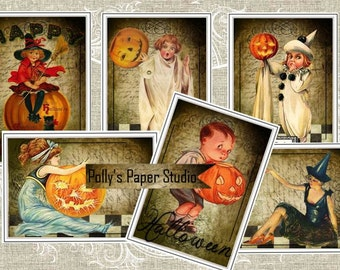 Vintage Halloween Checkerboard Tags Digital Collage Sheet printable download file 11 images
