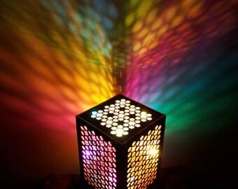 Hexstar Wooden Lamp. Modern lighting. Bedside lamp. Desktop lamp. Square Lamp. Modern Lighting. Square Lamp. Wood Lamp. Wooden Lamp.