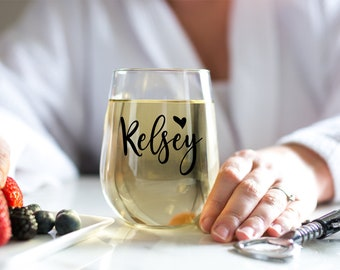 DECAL DIY  Personalized Stemless Bridesmaid Wine Glass Decals  - Name Decals - Names for Glasses
