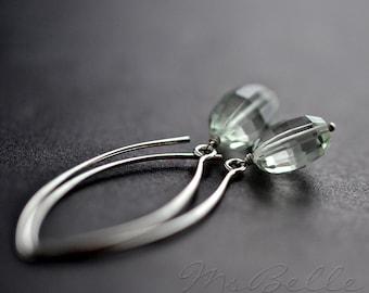 Amethyst Earrings - Green Amethyst Dangle Earrings, Green Amethyst Drop Earrings, Long Pastel Green Dangle Earrings, Prasiolite Gemstone