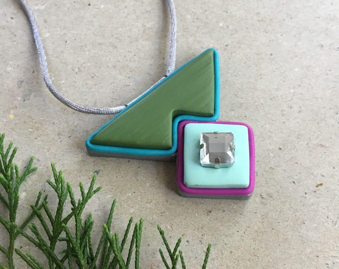 GEO-BLISS NECKLACE// Color blocked, geometric pendant// Aqua, olive and fuchsia polymer clay necklace