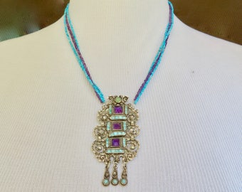 Turquoise Necklace,Matl Repurposed Brooch,Turquoise Amethyst Necklace,Vintage Matilde Poulat Mexican Silver Turquoise Necklace,Taxco Silver