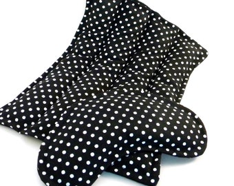 Microwave Packs, Rice Flax Heating Pads Eye Pillow, Period Pain Kit, PMS Gift Set, Hot Cold Comfort Packs, black white,