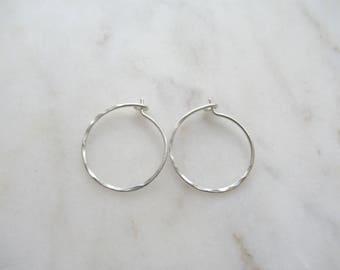 """3/4"""" thin hammered sterling silver hoops, silver hoop earrings, 3/4 inch hoops, lightweight hoops, dainty hoops, minimalist, simple hoops"""
