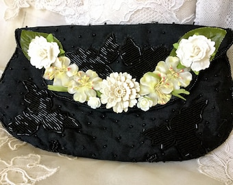 Vintage Black Beaded Clutch with Cream Flowers