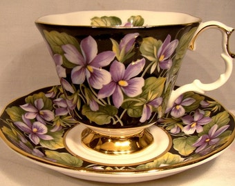 Royal Albert Purple Violet Provincial Flowers Cup and Saucer