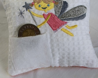 Tooth Fairy Pillow, Plush, Stuffed with Pocket for Coin/Paper Money, for Children, Sweet Fairy with Sparkly, Glittery Wings, Gift for Child