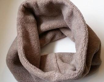Unisex Fleece Neckwarmer, Beige Fleece Neck warmer, Gaiter, Upcycled, fleece, beige