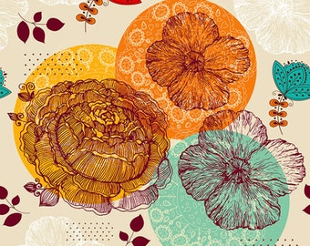 Fine art print. Flowers in color circles yellow orange blue. Beautiful print for living room or bedroom.