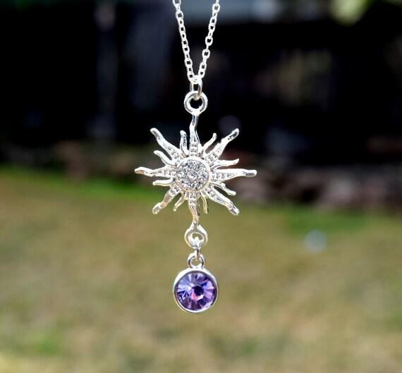 Sparkling Rapunzel Necklace, Rhinestone Rapunzel Fairy Tale Necklace, Purple Sun Flower, Rapunzel Costume Necklace, Purple Princess Necklace