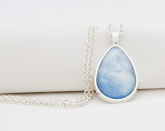 Dreamy Clouds Pendant Necklace, Shiny Silver, Photography, Photo Jewelry