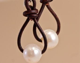 Pearl Earrings , Leather Earrings , Pearl Drop Earrings  ,  Amy Fine Design