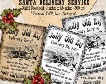Christmas bakery sign 8 x 10 primitive christmas santa christmas delivery sign digital download label printable tag diy vintage style image clip art collage solutioingenieria Choice Image