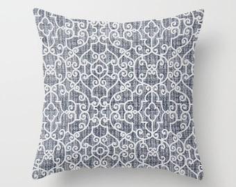 Navy Blue Pillow cover Beachy Pillow Cover Decorative Pillow Cover Nautical Pillow Ocean Pillow Sailing Pillow Lakehouse Pillow