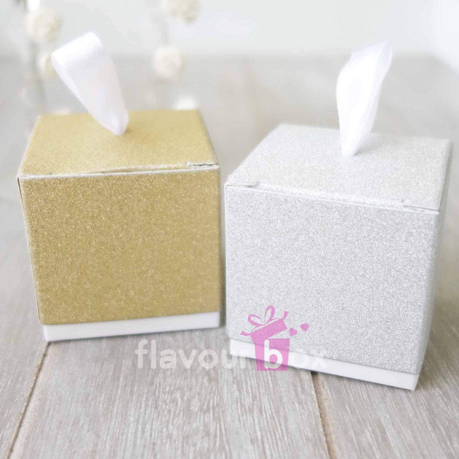 20/40x Gold or Silver Favour Boxes Wedding Bomboniere Baby