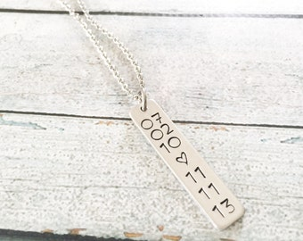Date necklace - Hand stamped necklace - Special date necklace  - Birthdate necklace - Anniversary necklace - Special dates on a necklace