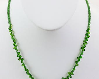 Green Chrome Diopside Faceted Bead Necklace w/ 14 Karat Gold Clasp & Small Beads