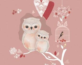 LARGE Children Owl Art Print - Love Nest