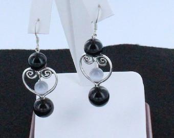 Black Jade and Grey Glass Cat's Eye Beaded Earrings