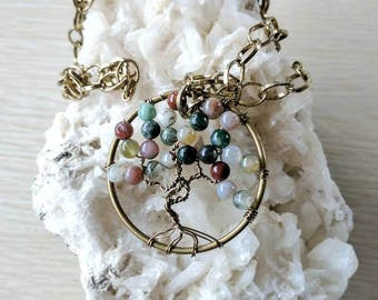 Tree of Life Pendant, Fancy Jasper Necklace, Antique Brass Wire, Gemstone Pendant, Tree Necklace, Tree Pendant, Gifts for Her