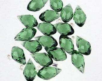 20 pcs of Peridot Color Crystal Quartz Faceted Briolette Teardrop - 6x11mm