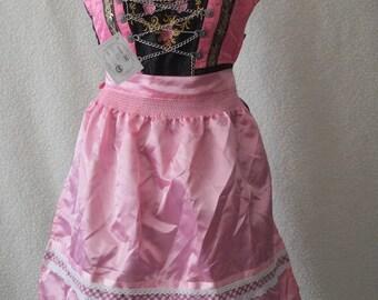 Vintage German dirndl pink embroidered checked victorian steampunk period style dress Size 4