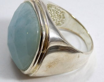 Huge Faceted Chalcedony Ring