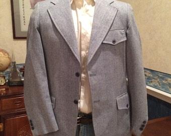 1970s Denim Look Blazer - Mens Light Blue Beatnik Jacket from Upperclassman size Medium 41R