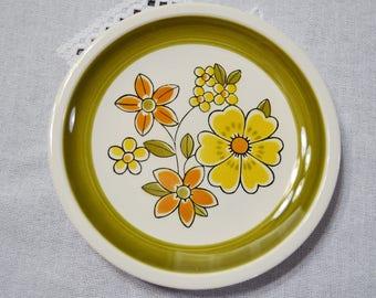Vintage Mikasa Cera Stone Awake Salad Plate Yellow Orange Green Flower Power Mod Replacement D1450 Japan PanchosPorch