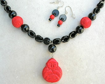 Red Cinnabar Buddhist Pendant & Beads, Linked Onyx Beads, Jizo Image, Ethnic Necklace, Necklace Set by SandraDesigns