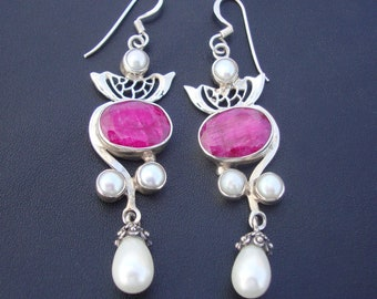 Natural Gemstone Ruby Or Pearl 925 Sterling Silver Gorgeous Dangle Drop Earrings