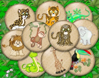 20 - 1.25 Inch Jungle Fun Pinback buttons or magnets - Jungle Animals - Party Favors - Pin Back Button Set
