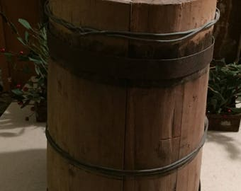 Primitive Wood Water Carrier with Spout and Handle - All Original