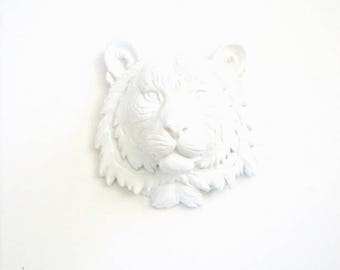 WHITE, Small Faux Taxidermy Tiger Animal Head wall mount, Mini Animal Head wall hanging, White Tiger, Safari Animal Head, Faux Taxidermy,