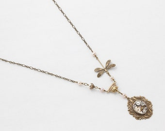 Steampunk Gold Dragonfly Necklace Vintage Silver Longines Watch with Blush Pink Pearls, Crystal and Filigree Pendant Statement Jewelry 2963