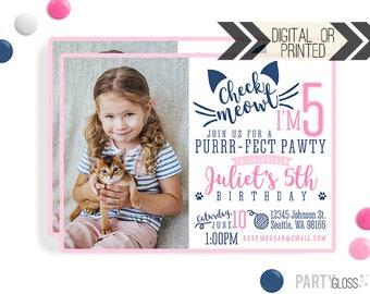 Cat Invitation | Digital or Printed | Kitty Cat Invitation | Kitty Invitation | Cat Birthday Invite | Check Meowt Invitation | Cat Theme