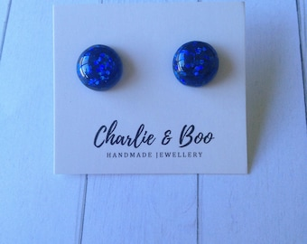 Glitter Studs - Glitter Earrings - Glitter Jewellery - Blue Glitter - Blue Glitter Earrings - Glitter Studs - Blue Glitter