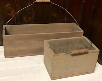 Vintage, Rustic Farmhouse Small Stained Wood Storage Crates with Wire Handles