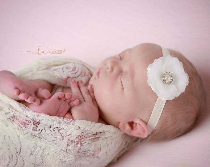 Ivory stretch lace swaddle wrap and/or matching ivory flower headband trimmed w/ pearls and rhinestones, bebe foto, by Lil Miss Sweet Pea