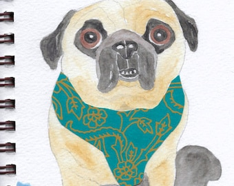 "Pug Print - Sketchbook Series - Watercolor & Collage - ""Egads!"""