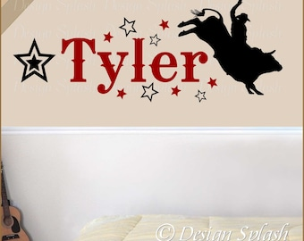 Rodeo Bull Rider/Cowboy with Boy's Name & Stars Wall Decal NM-138