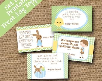 Easter Treat Bag Toppers for Kids   Christian, Easter Scripture, Bible Verse Goody Bag Labels for Boys   Instant Download   DIY PRINTABLE