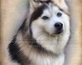 Ravyn...Dog Canine- Husky Study... Print - Your Choice of Size - Domestic Dog Art Painting - Pet Painting