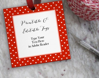 Printable Valentine Tag, Red Editable Blank Tag Template // Hearts Valentine's Day Tag // DIY Digital PDF // 3 inch Square 3x3 Red Gift Tags