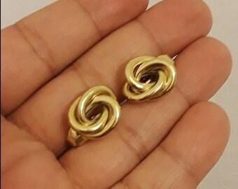 Vintage Crown Trifari Gold Knot Huggie Clip On Earrings
